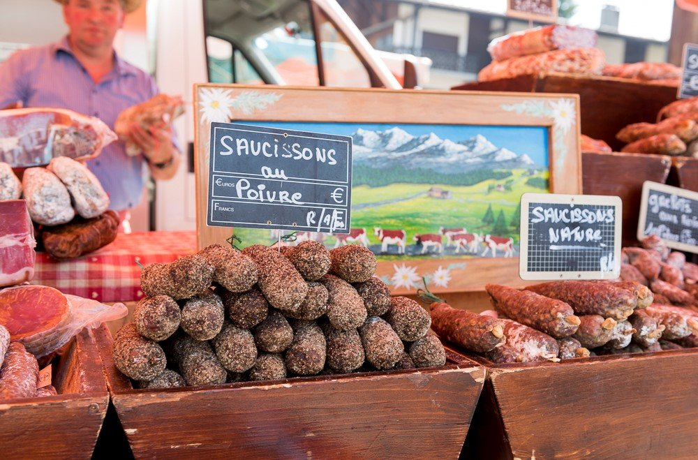 various saucisson at the weekly market